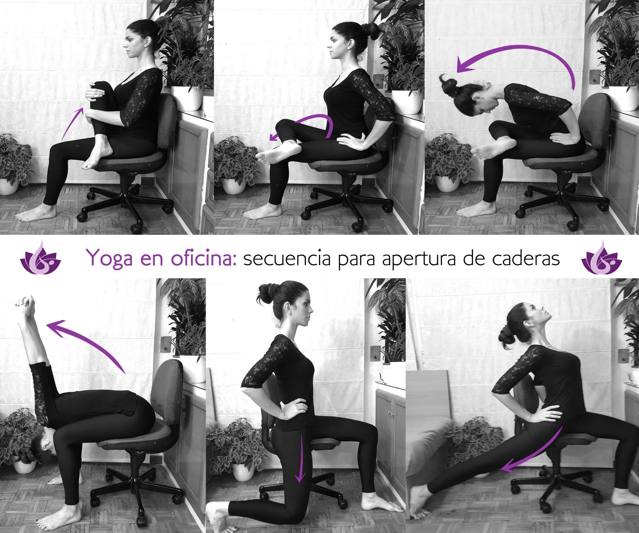 6 posturas de Yoga para la cadera en la Oficina
