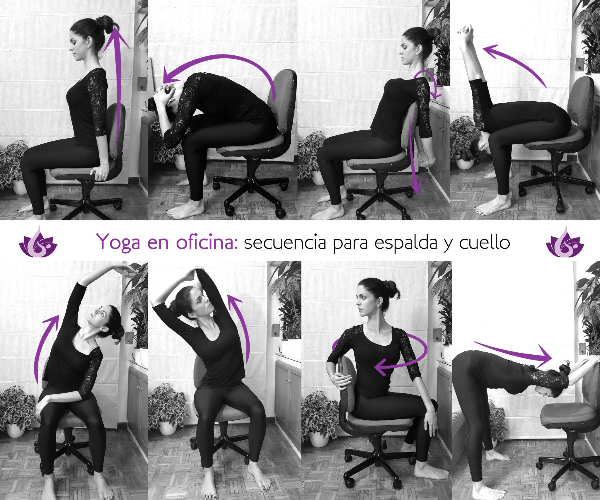 secuencia yoga en oficina para estirar espalda